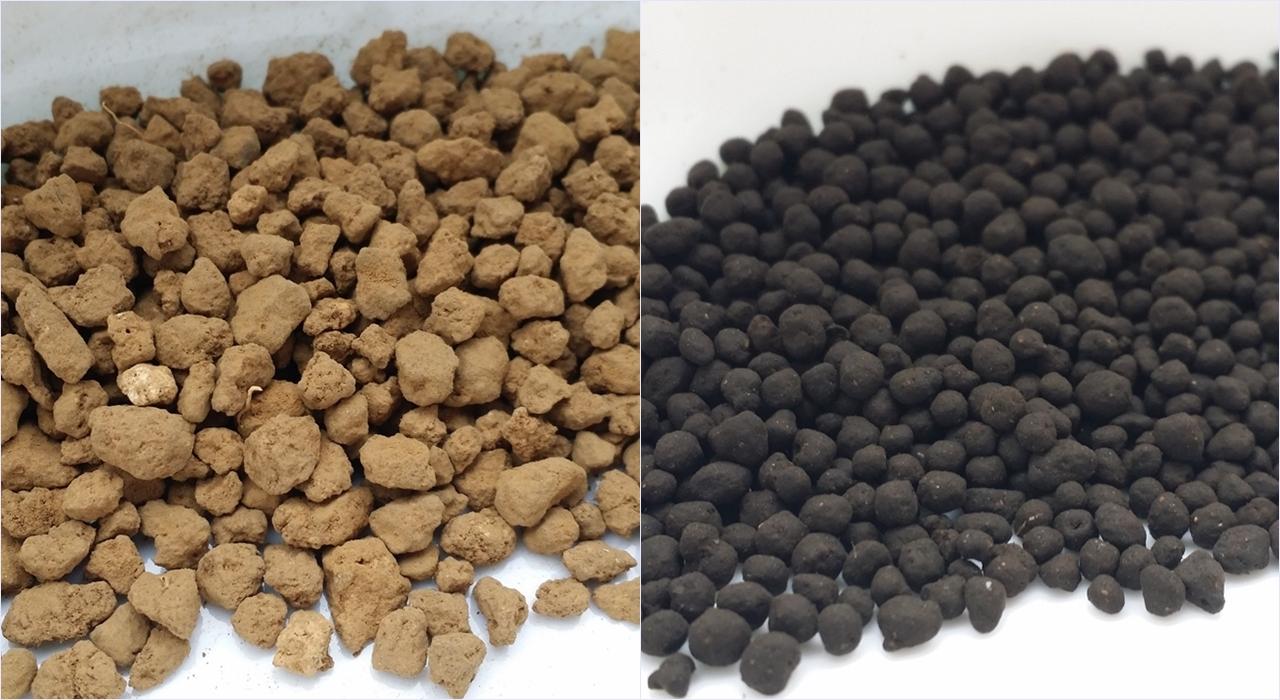 硬質赤玉土とソイルの比較